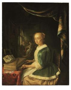 Jonge vrouw spelend op een klavichord