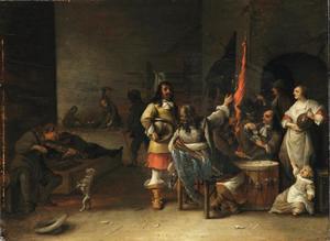 Wachtlokaal met soldaten en muzikanten