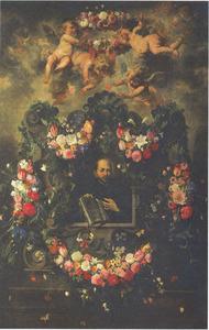 De H. Ignatius in een cartouche versierd met een bloemenkrans met daarboven engelen