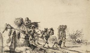 Boerenwagen op een brug