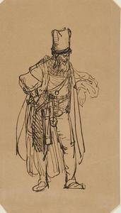 Staande man in Turks kostuum
