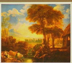 Zuidelijk landschap met grote bomen aan een rivier, aan de overzijde twee vrouwen en twee koeien