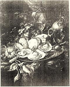 Vanitas-stilleven met schedel, roemer en schaal met oesters