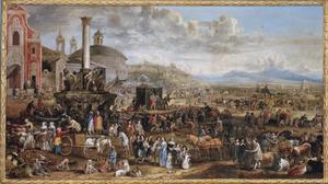 Markt in de Romeinse Campagna; op de achtergrond de kerk Trinità dei Monti, het Pantheon en de Ponte Molle (Milvio)