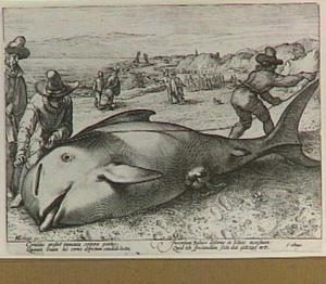 Gestrande walvis op het strand bij Zandvoort, 1594
