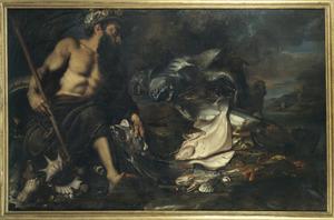 Allegorie op het Water: een triton op het strand met vissen, schelp-en schaaldieren