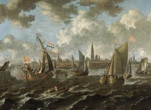 Schepen voor de haven van Antwerpen