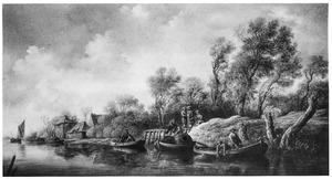 Rivierlandschap met vissers en boten