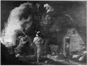 Athena helpt Odysseus de schatten van de Phaiaken te verbergen