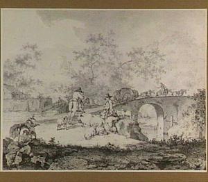Heuvellandschap met herders en vee bij een brug