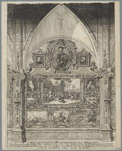 Een verzameling schilderijen op een wand van de pinakotheek van keizer Karel VI in Wenen