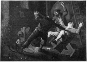 Vechtpartij in een herberg na een partijtje kaarten
