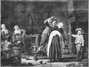 Interieur met een stoeiend paar, twee meiden en een jongen kijken lachend toe