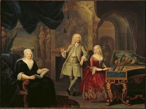 Portret van Jacob Ploos van Amstel 1695-1760), Sara Rothé (1692-1751) en waarschijnlijk Margaretha van Tol (?-1734)