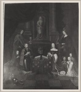 Portret van een familie, genaamd Gijsbert van Hardenbroek (....-1530), Mechteld van Raephorst (....-....) en kinderen