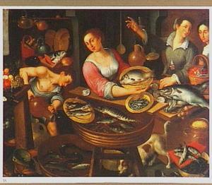 Marktstal met visverkoopster en klanten