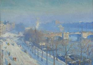 Gezicht op de Amstel in de winter