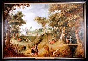Bebost landschap met elegante figuren