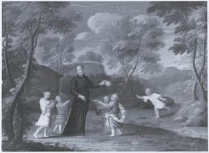 Een Jezuiet onderricht kinderen in China