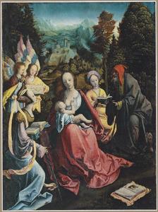 De Heilige Familie met heiligen en engelen