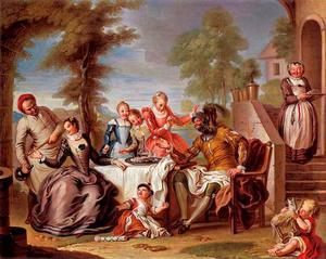 Don Quijote wordt bediend door de meiden van de herberg
