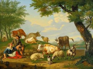 Landschap met herderpaar met vee