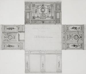 Ontwerp met plattegrond en vier wanden in opstand met ornamenten