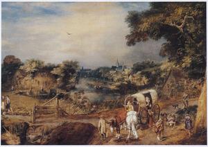 Boeren met een huifkar buiten een dorp