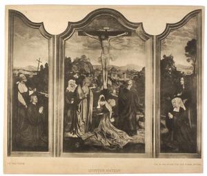 H. Hieronymus met stichter (links), de kruisiging (midden), H. Maria Egyptiaca met stichtster
