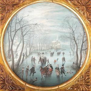 Winterlandschap met schaatsers en sleeën