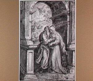Joachim ontmoet Anna bij de Gouden Poort; in de achtergrond de verkondiging van de geboorte van Maria aan de herder Joachim door een engel