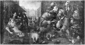 Allegorie van de herfst: markt met gevogelte