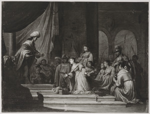 Salomo ontvangt kostbare geschenken van de koningin van Seba  (1 Koningen 10:1-2)