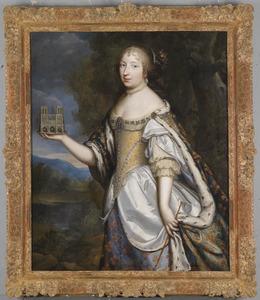 Portret van Maria Theresa van Spanje, Koningin van Frankrijk, met een model van de Notre Dame