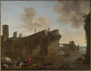 Landschap met de Ponte Rotto in Rome