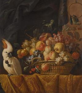 Stilleven met fruit in een mand op een tafel en een kaketoe