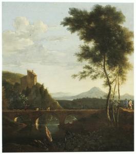 Zuidelijk landschap met reizigers bij een brug; op de achtergrond twee vrouwen aan de was