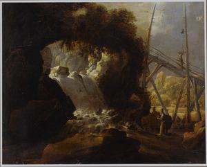 Landschap met monniken bij een waterval; op een brug luidt een monnik de bel