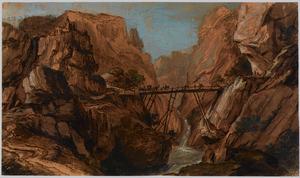 Berglandschap met brug over ravijn met waterval