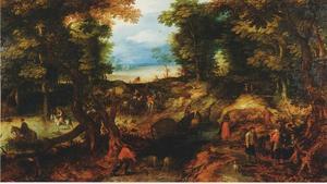 Boslandschap met een bospad naast een doorwaadbare plaats