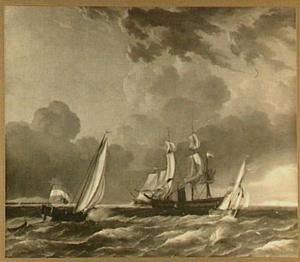 Zeegezicht met links het jacht van de Admiraliteit van