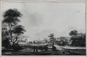 Weids heuvelachtig rivierlandschap met baders