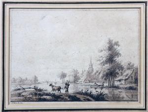 Rivierlandschap met bebouwing en boer met koe