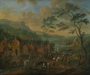 Gezicht op een dorp aan een rivier, met boeren, paarden en ruiters