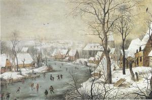 Winterlandschap met vogeltafel