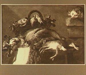 Stilleven van jachtbuit op een tafel; rechts een kat