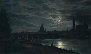 Gezicht op Dresden bij maanlicht