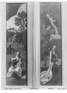 De rust op de vlucht naar Egypte (links), de annunciatie (rechts)