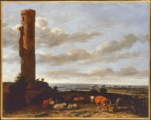 Rustend vee bij kasteelruïne in een weids rivierlandschap (mogelijk kasteel Haaften)