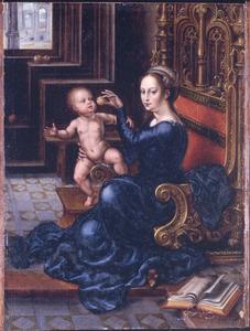 Maria met kind gezeten op een troon